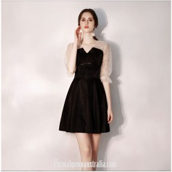 Australia Little Black Dress V-neck Knee-Length Half Sleeves Formal Dress Evening Dress