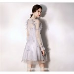 Australia Formal Dress Evening Gowns V-neck Fashion Long Sleeves Short Organza New
