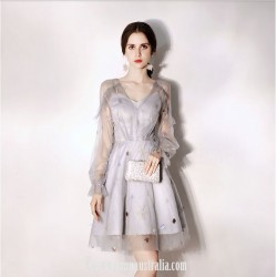 Australia Formal Dress Evening Gowns V-neck Fashion Long Sleeves Short Organza