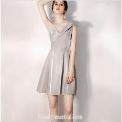 Australia Semi Formal Dress One Shoulder Short A-line Silver