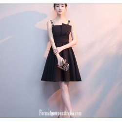 A-line Little Black Dress Spaghetti Straps Short Semi Formal Dress