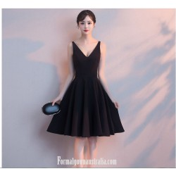 A Line Little Black Dress V Neck Zipper Back Short Semi Formal Dress