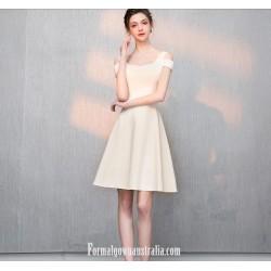 Australia Semi Formal Dress Square-neck A-line Champagne Short Chiffon