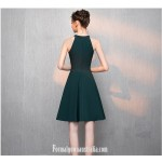 A-line Knee-Length Green Chiffon Jewel-neck Semi Formal Dress New