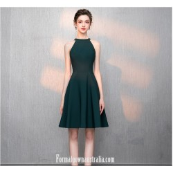A Line Knee Length Green Chiffon Jewel Neck Semi Formal Dress