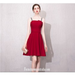 Australia Semi Formal Dress Fashion Letters Sling A Line Short Red