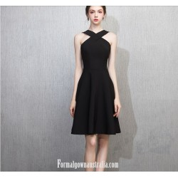 A-line Knee-Legngth Black Chiffon Semi Formal Dress
