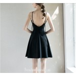 Australia Short Semi Formal Dress Spaghetti Straps Criss Cross Strass Black Petite Dress New