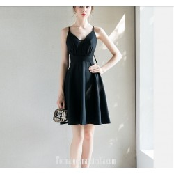 Australia Short Semi Formal Dress Spaghetti Straps Criss Cross Strass Black Petite Dress