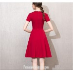 A-line Short Knee-length Red Dress Crew-neck With Bowknot Short Sleeves Semi Formal Dress New