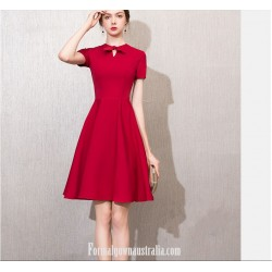 A Line Short Knee Length Red Dress Crew Neck With Bowknot Short Sleeves Semi Formal Dress