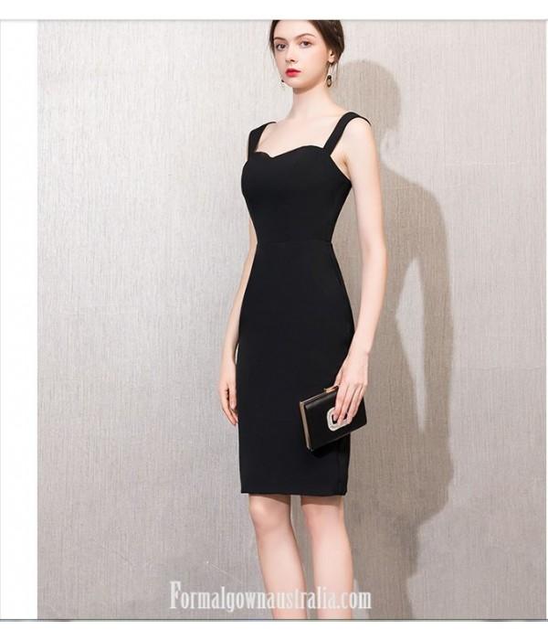 Australia Formal Dress Evening Gowns Knee-Length Little Sheath/Column Black Dress New