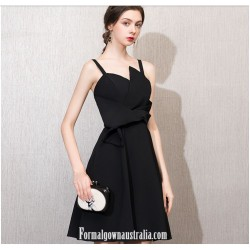 A-line Little Black Dress Zipper-back Knee-length Semi Formal Dress
