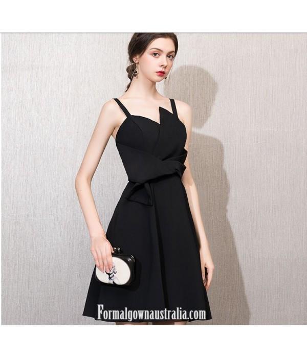 A-line Little Black Dress Zipper-back Knee-length Semi Formal Dress New