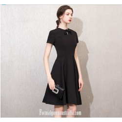 A Line Short Knee Length Black Dress Crew Neck With Bowknot Short Sleeves Semi Formal Dress