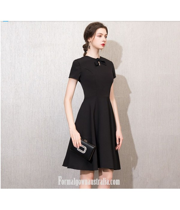 A-line Short Knee-length Black Dress Crew-neck With Bowknot Short Sleeves Semi Formal Dress New