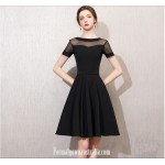 Australia Semi Formal Dress Jewel-neck Short Sleeves A-line Knee-length Chiffon New