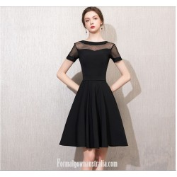 Australia Semi Formal Dress Jewel-neck Short Sleeves A-line Knee-length Chiffon