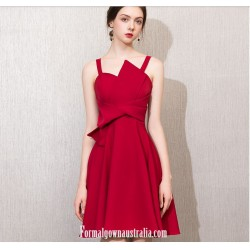 A Line Knee Length Spaghetti Straps Fashion Neckline Short Semi Formal Dress