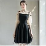 Australia Semi Formal Dress Knee-length Spaghetti Straps Fashion Half Sleeves Black Dress New