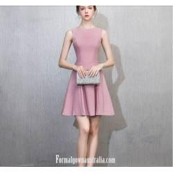 Australia Semi Formal Dress Zipper Back Jewel-neck Short Pink Chiffon