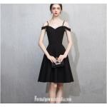Australia Semi Formal Dress Spaghetti Straps Black Short Chiffon New