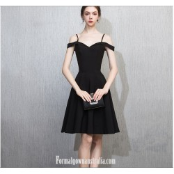 Australia Semi Formal Dress Spaghetti Straps Black Short Chiffon