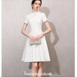 Elegant Knee-length White Jewel-neck With Bowknot Short Sleeves Semi Formal Dress