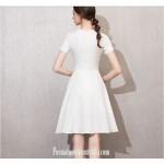 Elegant Knee-length White Jewel-neck With Bowknot Short Sleeves Semi Formal Dress New