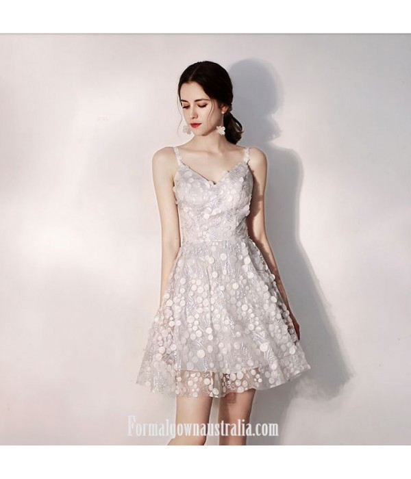 Australia Semi Formal Dress Grey Sling With Disc Short A-line Dress New