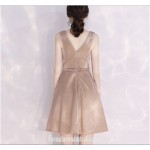 Australia Semi Formal Dress Small V Collar Champagne Color Short A-line With Sashes New