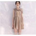 Australia Semi Formal Dress Fashion Neckline Champagne Color Short A-line Dress New