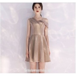 Australia Semi Formal Dress Fashion Neckline Champagne Color Short A Line Dress