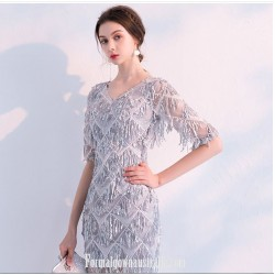 Elegant Fashion Gray Short Pendant Sequins V-neck Half Sleeves Formal Dress Evening Gowns With Sequins