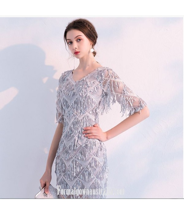 Elegant Fashion Gray Short Pendant Sequins V-neck Half Sleeves Formal Dress Evening Gowns With Sequins New