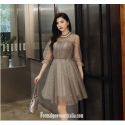 Australia Semi Formal Dress Fshion Collar Half Sleeves A-line  Short Organza