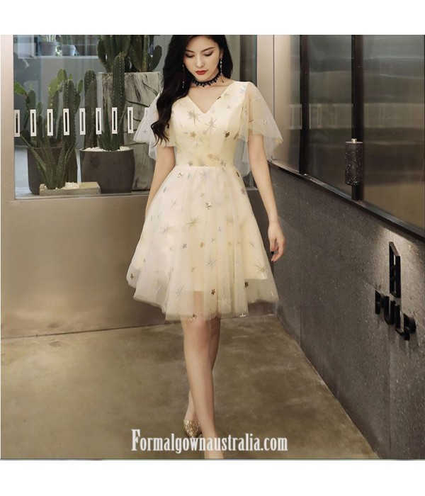 Australia Formal Dress Evening Gowns V-neck Knee-length Champagne Organza With Sequins New
