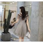 Australia Formal Dress Evening Gowns Crew-neck Grey Short Organza New