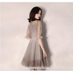 Australia Semi Formal Dress Half Sleeves High-neck Short Tulle With Sequins New