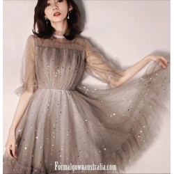 Australia Semi Formal Dress Half Sleeves High Neck Short Tulle With Sequins
