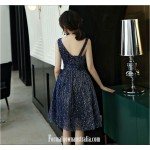 Beautiful Knee Length Blue Semi Formal Dress With Sequins Unusual Neck Zipper Party Dress New