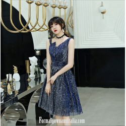 Beautiful Knee Length Blue Semi Formal Dress With Sequins Unusual Neck Zipper Party Dress