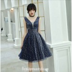 A-line Knee Length Navy Blue Tull Semi Formal Dress Plunging Neck Zipper Cocktail Dress With Sequin New