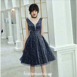 A Line Knee Length Navy Blue Tull Semi Formal Dress Plunging Neck Zipper Cocktail Dress With Sequin
