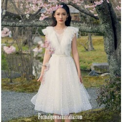 Elegant A-line White Tulle Semi Formal Dress Illusion Neck