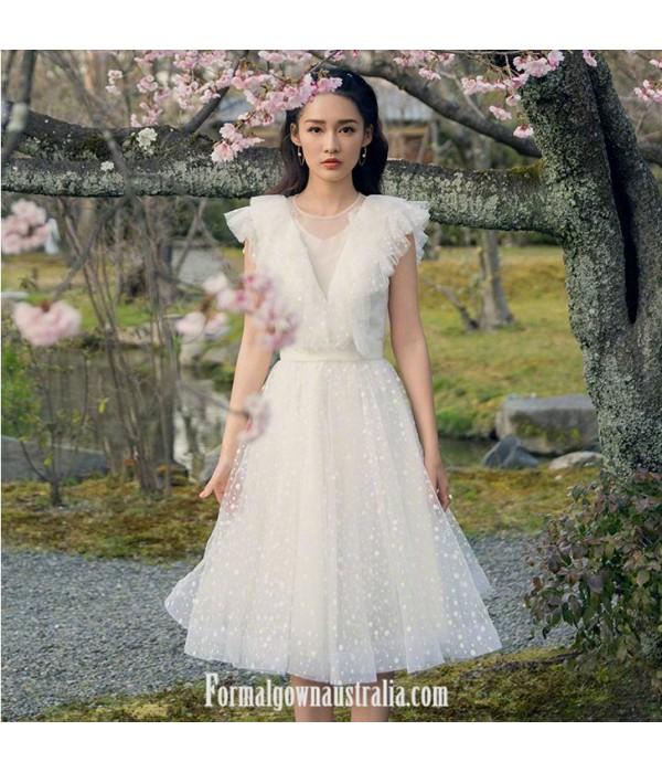 Elegant A-line White Tulle Semi Formal Dress Illusion Neck New