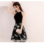 A-line Knee Length Black Semi Formal Dress Jewel-neck With Printing Party Dress New