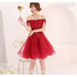 A Line Short Red Lace Tulle Semi Formal Dress Off The Shoulder Lace Up With Appliques Sequins Party Dress