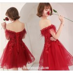 A-line Short Red Lace Tulle Semi Formal Dress Off The Shoulder Lace-up With Appliques/Sequins Party Dress New