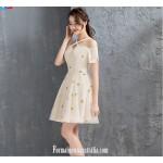 Simple Short A-line Tulle Semi Formal Dress Off The Shoulder Zipper Short Sleeve Cocktail Dress New